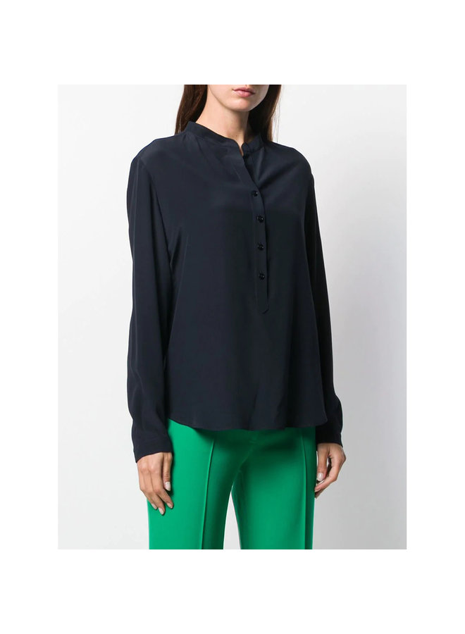 Eva Classic Long Sleeve Shirt in Silk in Ink
