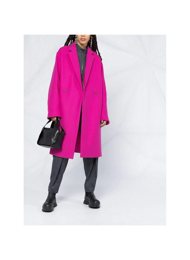 Double Breasted Mid-Length Coat in Cotton in Fuschia Pink