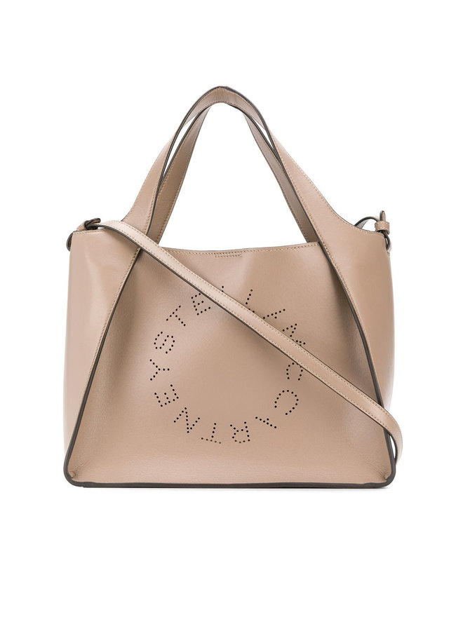 Small Logo Tote Bag in Eco Leather in Moss