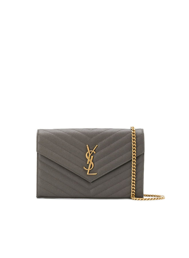 Large Chain Wallet Crossbody Bag in Dark Grey / Gold