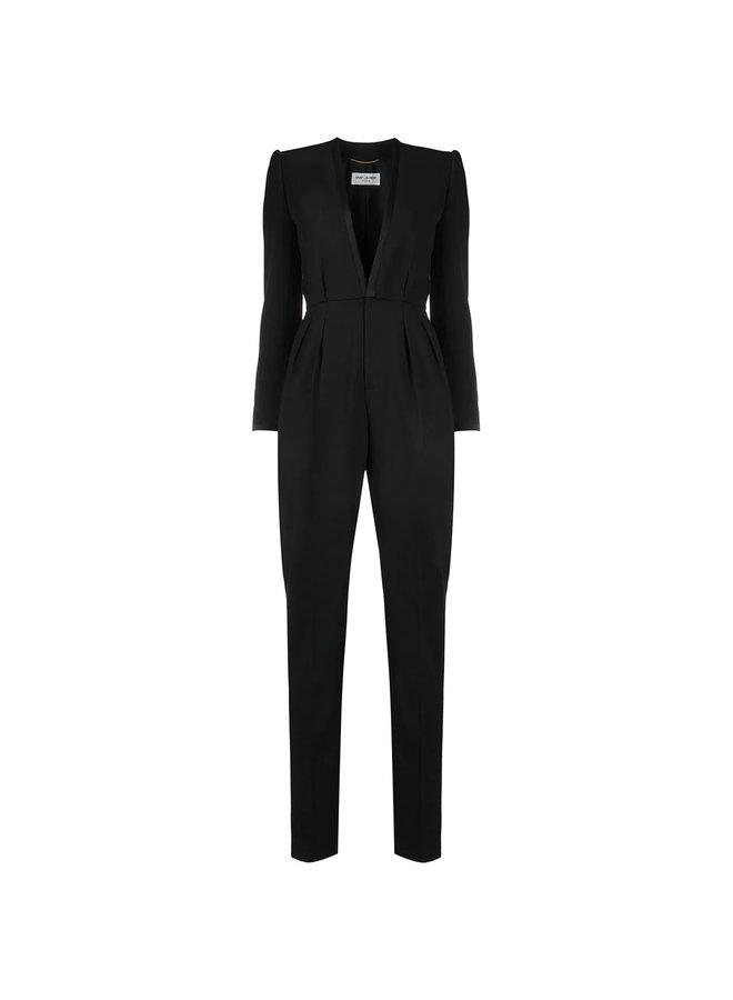 Full Length Deep V-neck Tailored Jumpsuit in Black