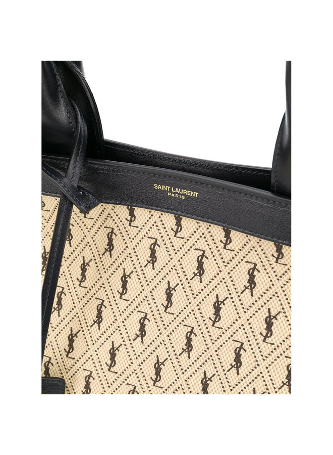 Monogram All-over Tote Bag in Leather in Beige/Black
