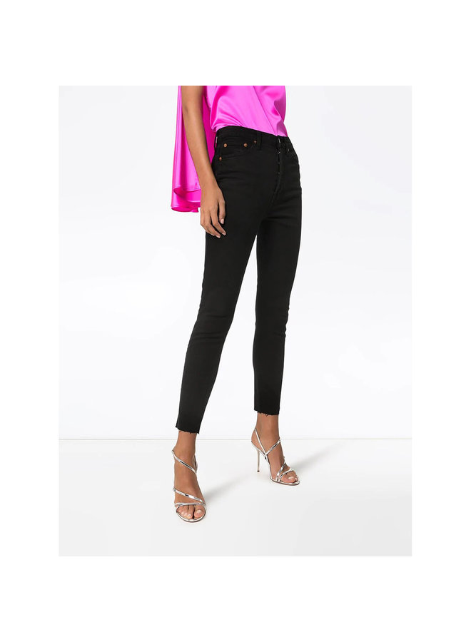 High Waisted Cropped Skinny Jeans in Black