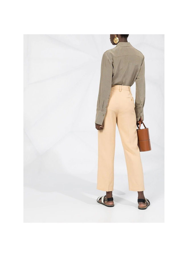 High Waisted Straight Leg Pants in Nude