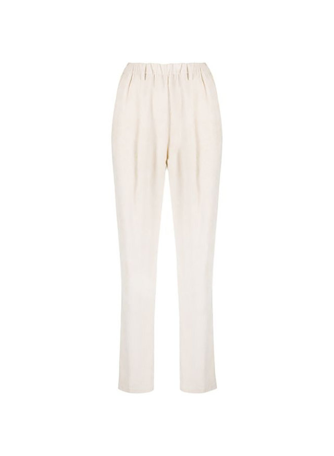 Straight Leg Pants with Elastic Waist in Corduroy in Butter