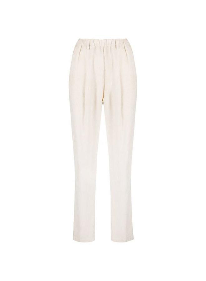 Straight Leg Pants with Elastic Waist in Corduroy