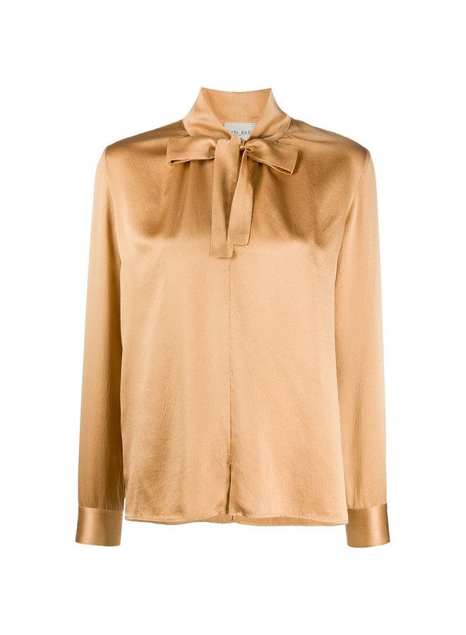 Long Sleeve Blouse Tie up Neckline in Silk in Camel
