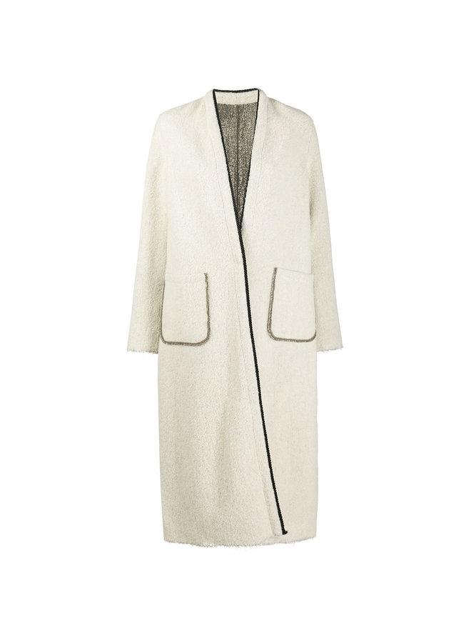Reversible Long Coat Open Front in Wool