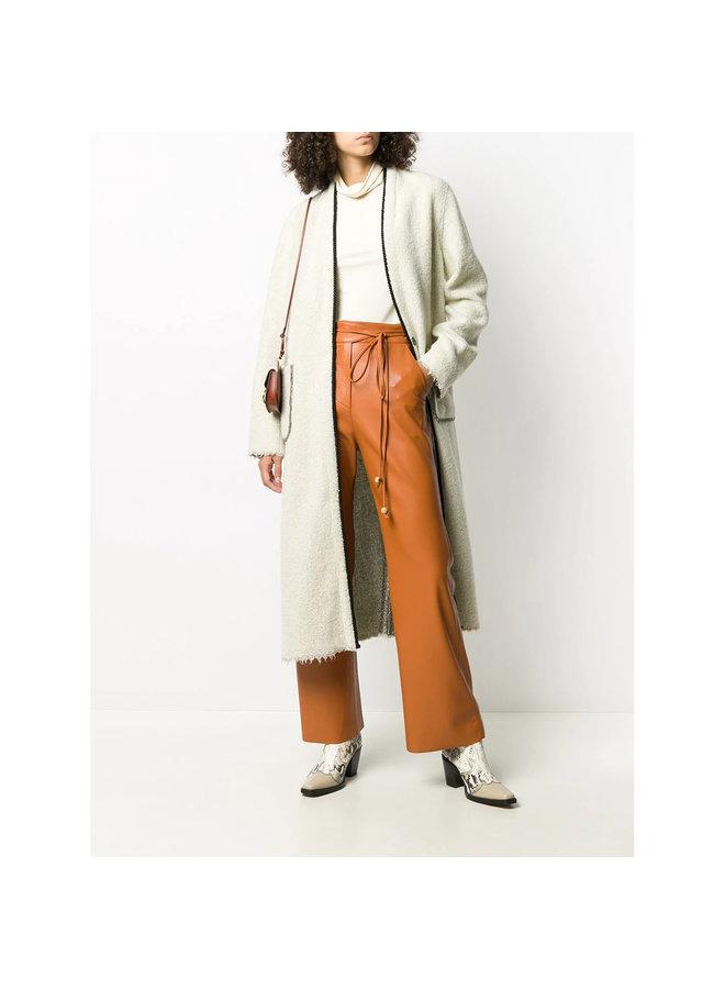 Reversible Long Coat Open Front in Wool in Ecru