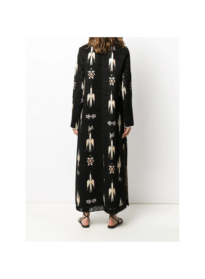 Single Breasted Long Coat with Embroidery in Black