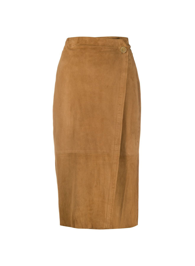 Midi Slim Pencil Skirt in Suede in Camel