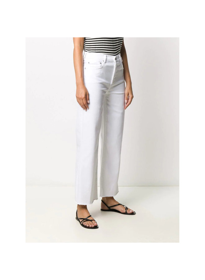 High Waisted Cropped Flare Jeans in White