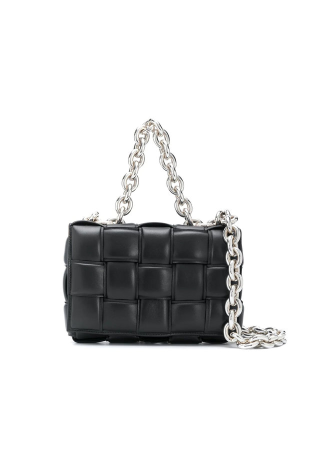 Casette Chain Padded Shoulder Bag in Leather in Black/Silver