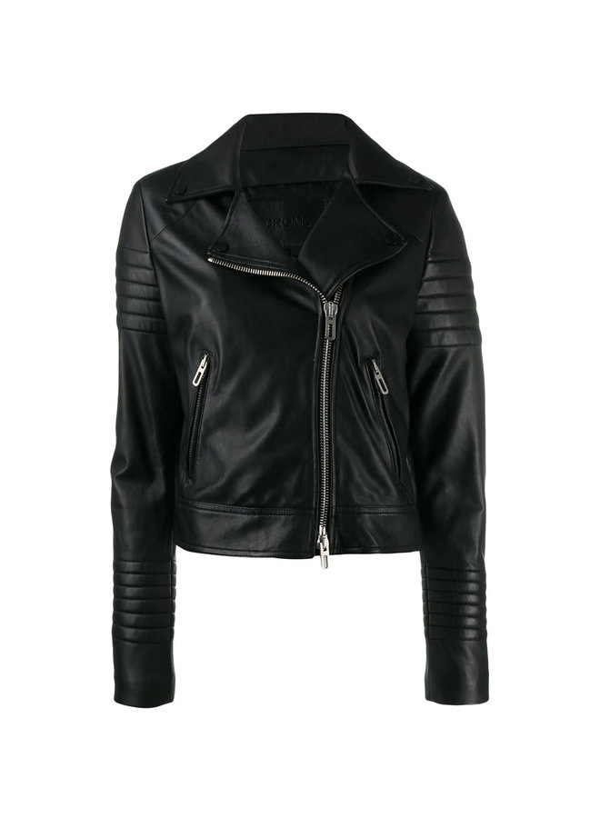 Ribbed Sleeve Biker Jacket in Leather