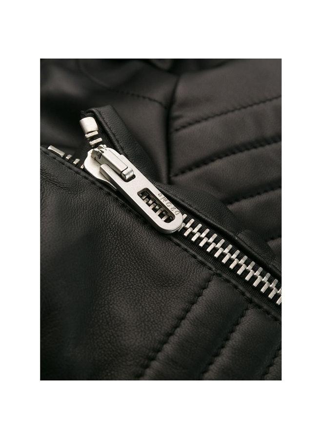 Ribbed Sleeve Biker Jacket in Leather in Black