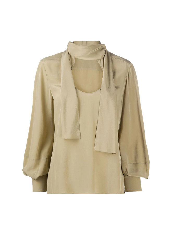 Long Sleeve Blouse Front Tie in Silk