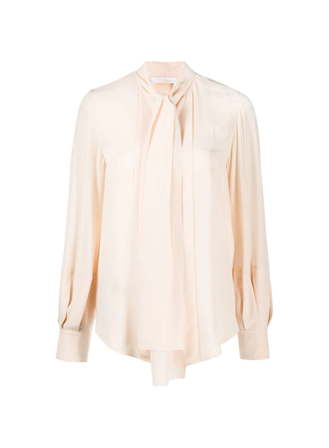 Long Sleeve Blouse Front Tie in Silk in Pink