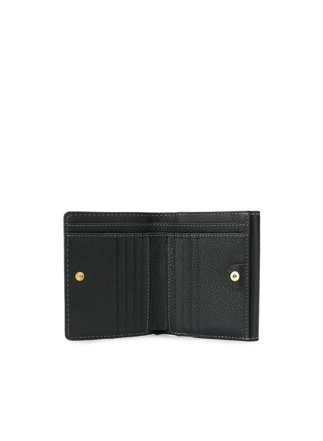 Small Marcie Flap Wallet in Leather in Black