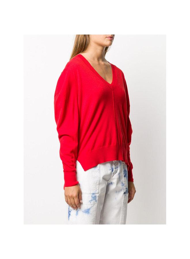 V-neck Draped Knitwear Jumper in Wool in Poppy Red
