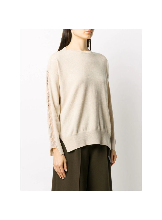 Jumper with Crochet-Details in Cashmere/Wool in Beige
