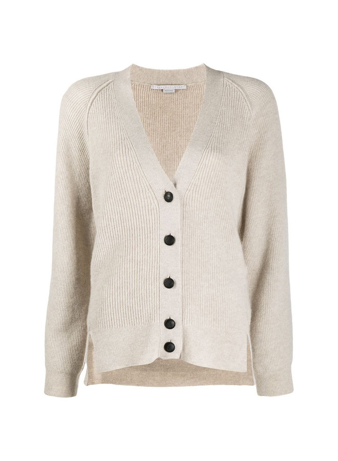 Ribbed Cardigan in Wool