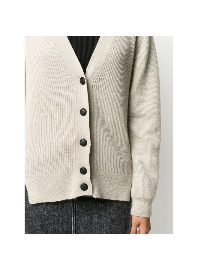 Ribbed Cardigan in Wool in Oat