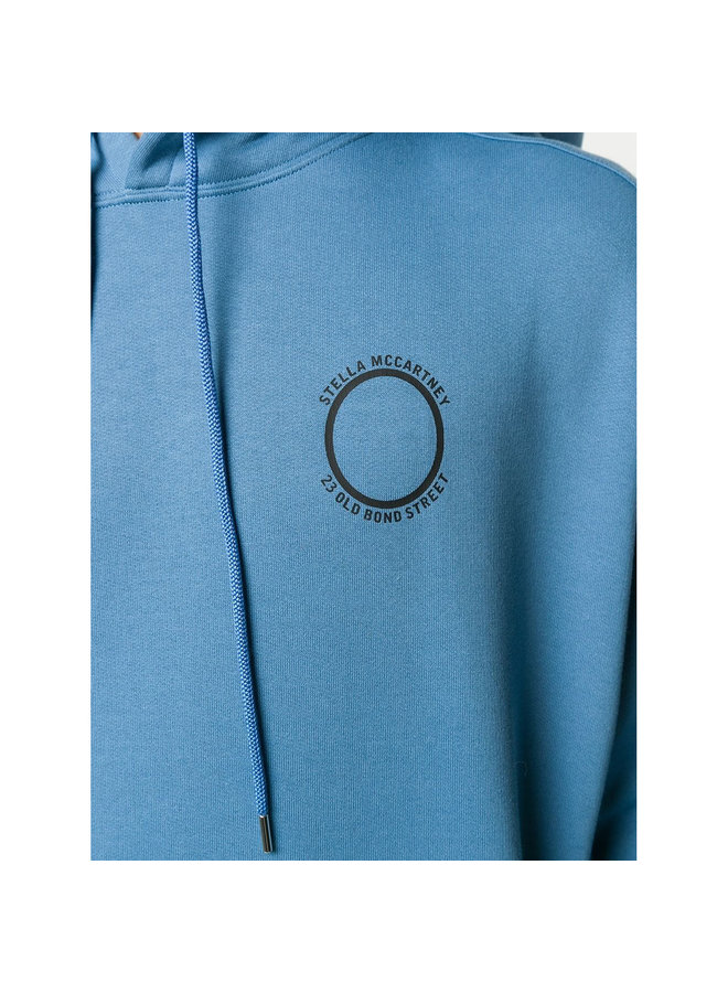Logo Print Hoodie in Cotton in Air-force Blue