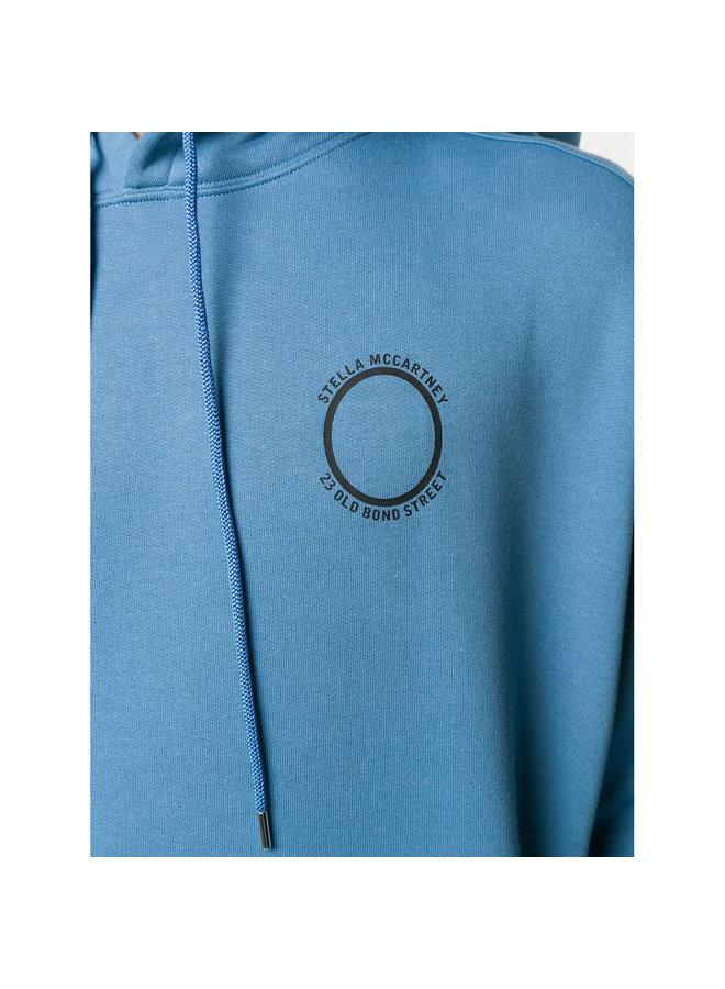 Logo Print Hoodie in Cotton in Air-force Blue