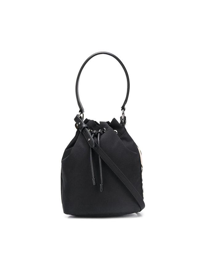 Logo Stripe Small Bucket Bag in Black