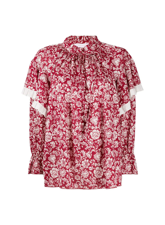 Long Sleeve Ruffle Blouse in Floral Print in Red/White