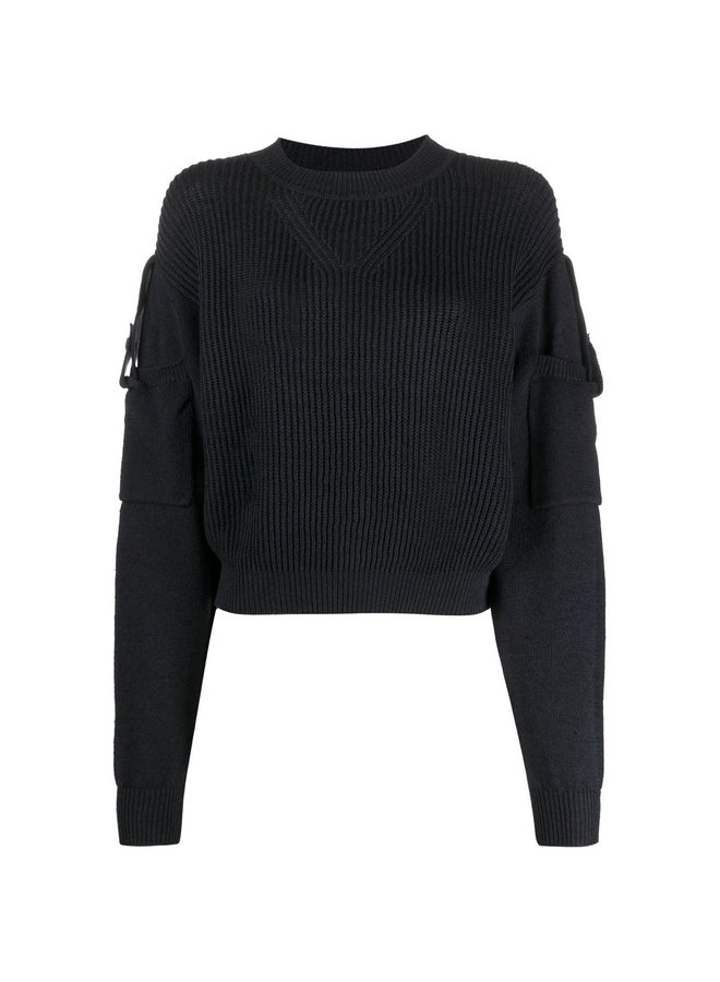 Ribbed Jumper with Sleeve Pocket in Black