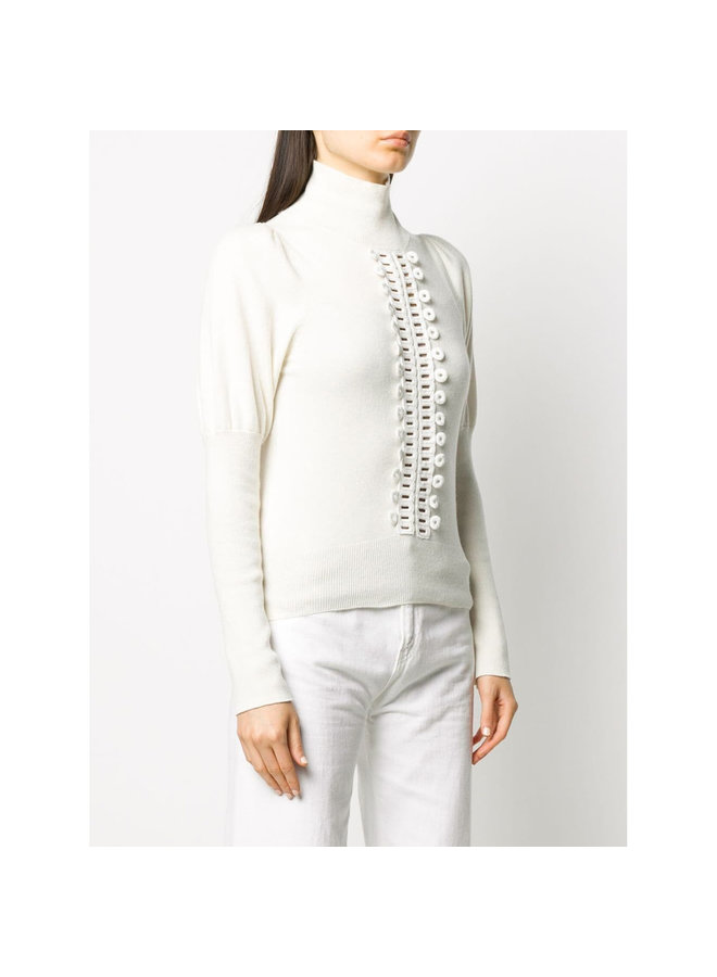 Knitted Jumper with Juliet Sleeve in Wool in White
