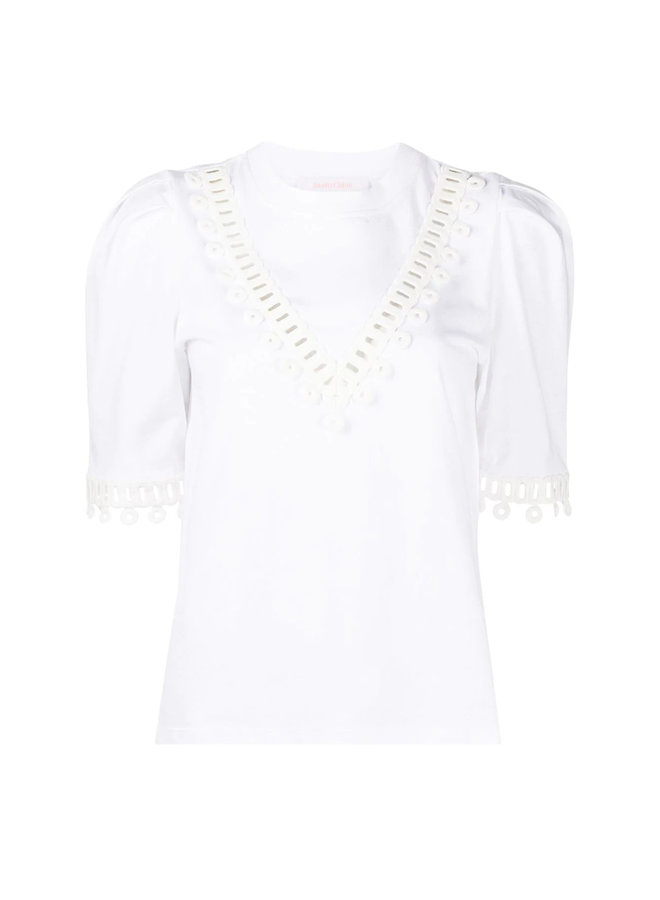 Short Sleeve T-shirt Embroidered in Cotton in White