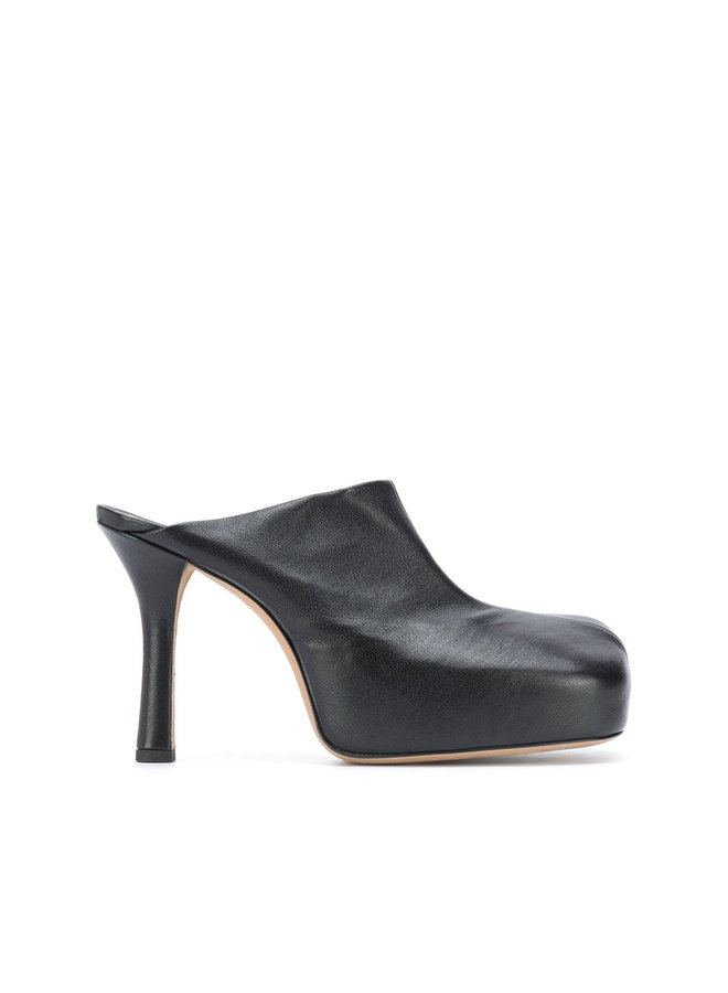 High Heel Sculptural Mules in Leather