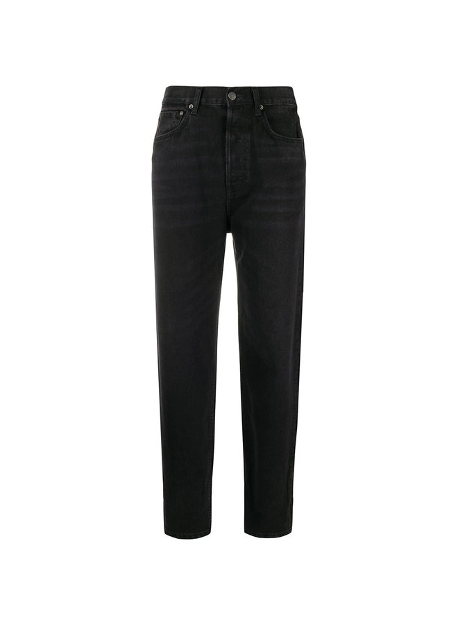 High Waisted Straight Leg Jeans in Black