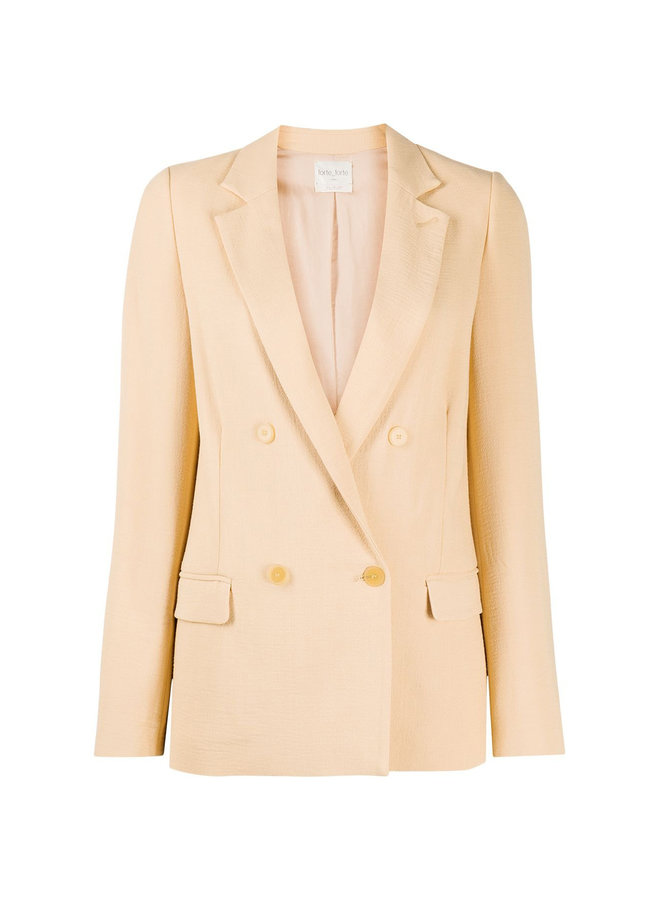 Double Breasted Fitted Blazer in Wool Blend in Nude