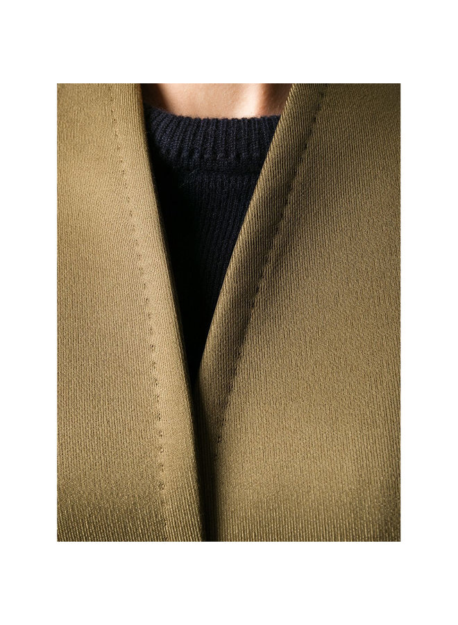 Double Breasted Coat in Wool Blend in Khaki