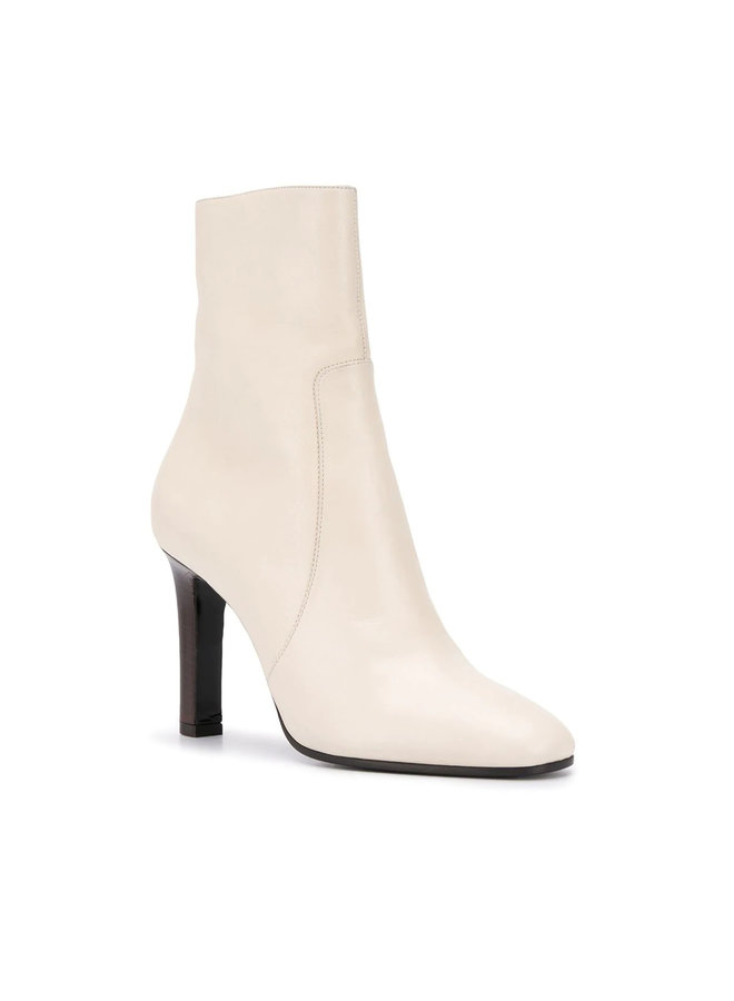 Jane Low Booties in Leather in Pearl