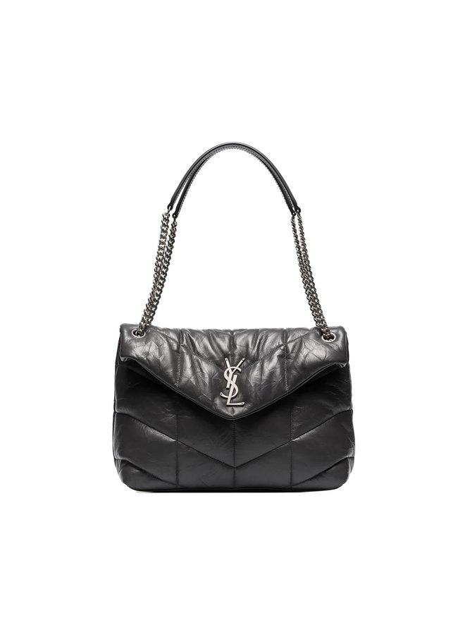 Loulou Puffer Medium Bag in Leather in Grey/Silver