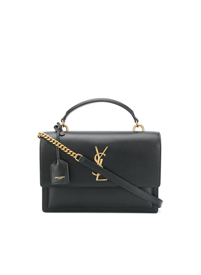 Sunset Shoulder Bag in Leather in Black/Gold