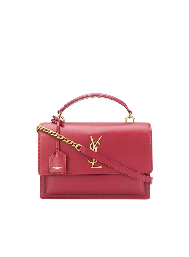 Sunset Shoulder Bag in Leather in Red/Gold