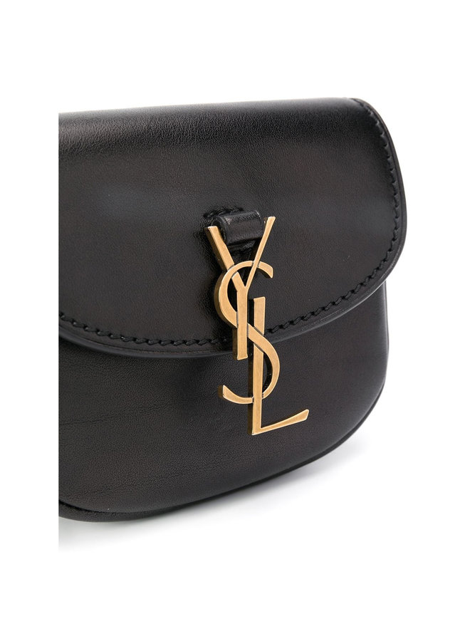 Kaia Belt Bag in Leather in Black/Gold