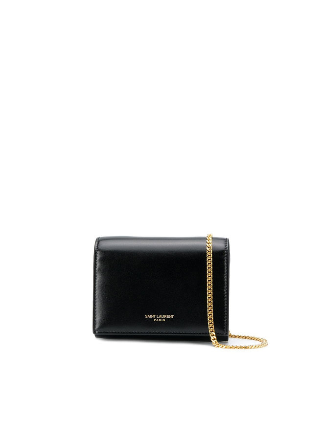 Embossed Logo Mini Chain Wallet in Leather
