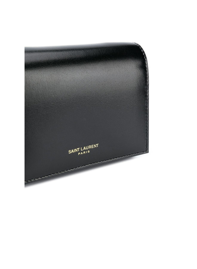 Embossed Logo Mini Chain Wallet in Calf Leather in Black