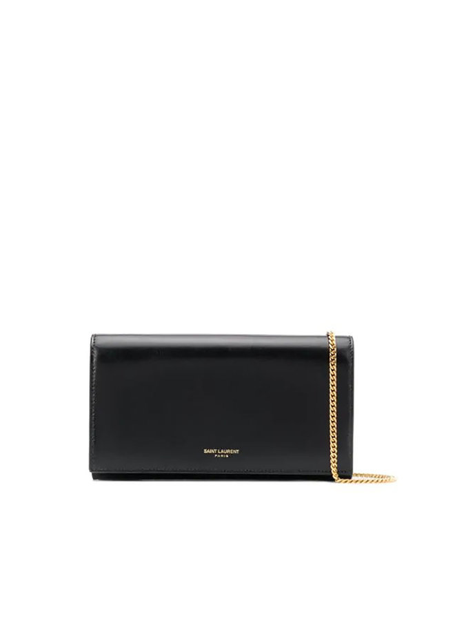Embossed Logo Chain Wallet in Leather in Black/Gold