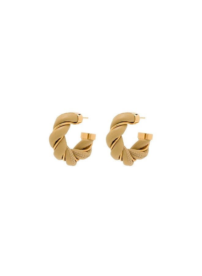 Leather and Gold Plated Silver Earrings
