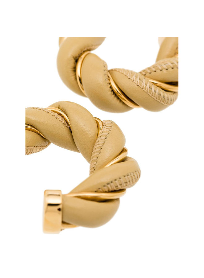 Leather and Gold Plated Silver Earrings in Camel/Gold