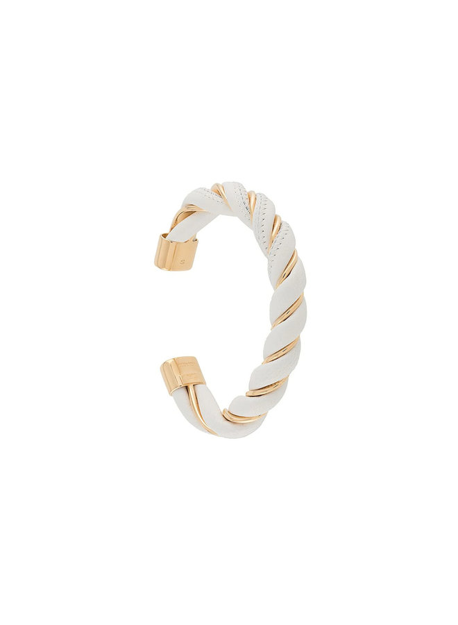 Leather and Gold Plated Silver Bracelet