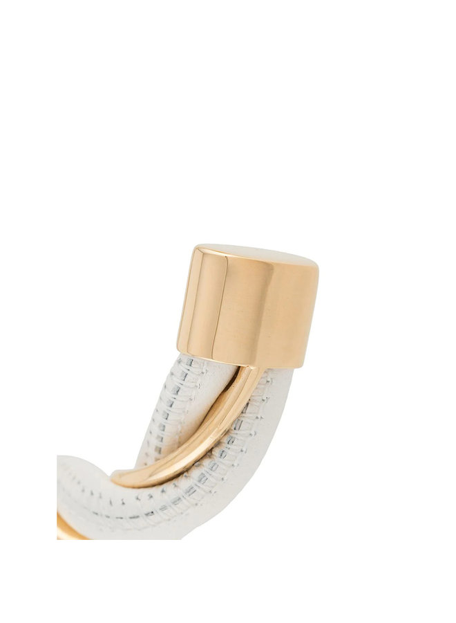 Leather and Gold Plated Silver Woven Bracelet in White/Gold