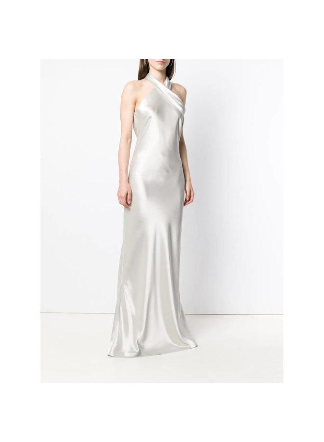 Halter Neck Long Dress in Platinum